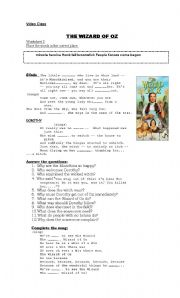 English worksheets: wizard of oz worksheets, page 1