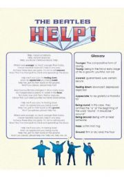 English Worksheets: The Beatles - Help: Lyrics, Glossary & Fill in the blanks (part 2 of 2)