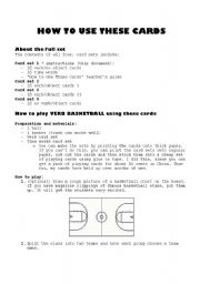 English Worksheet: Verb basketball game - Card Set 1/4 and instructions
