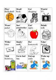 English Worksheet: Verb basketball game - Card Set 2/4
