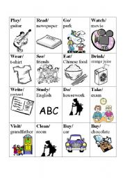 English Worksheet: Verb basketball game - Card Set 3/4