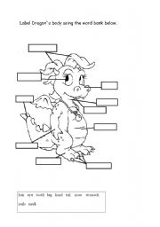 English Worksheets: Label Dragon`s body using the word bank below.
