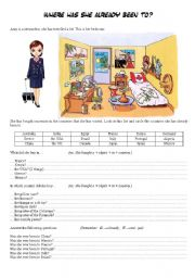 English Worksheets: where has she already been to?