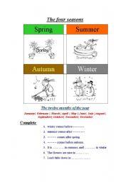 English Worksheet: the four seasons work sheet