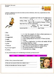 bee movie film activity esl worksheet by ericaplak. Black Bedroom Furniture Sets. Home Design Ideas