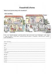 English Worksheet: What is each person doing in the household?