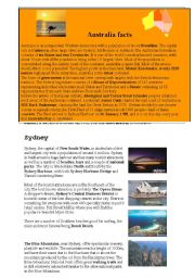 English Worksheet: Australia facts (part 1 out of 4)