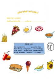 English Worksheets: What Shall I Eat Today?