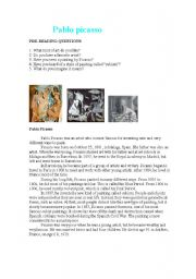 English Worksheet: Pablo Picasso