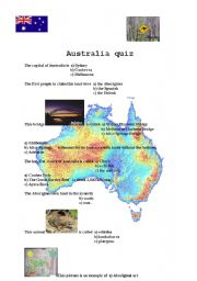 English Worksheet: Australia quiz (follow up for Australia facts)