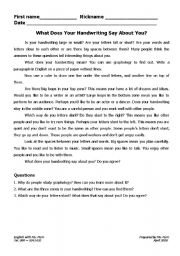English Worksheets: What does Your Hand Writing Say About You?
