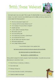 English Worksheets: British houses webquest
