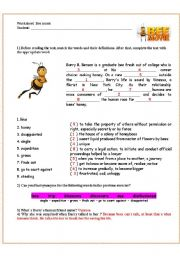 English Worksheet: Bee movie - answer key