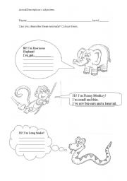 English Worksheets: Animal Descriptions
