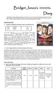 English Worksheets: Bridget Jones�s Diary_Movie guide