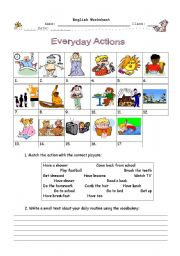 English Worksheet: Everyday Actions