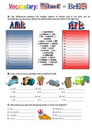 English Worksheets: American English and British English
