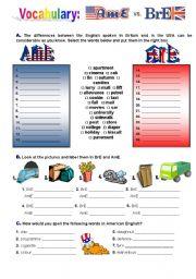 English Worksheet: American English and British English