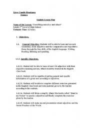 English worksheet: English Lesson Plan