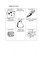 English Worksheets: Noughts and Crosses Foods