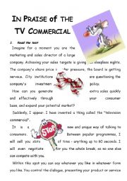 English Worksheet:  IN PRAISE OF THE TV COMMERCIAL