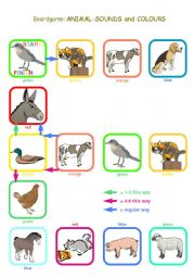 English Worksheet: Boardgame: Animals-Sounds and Colours