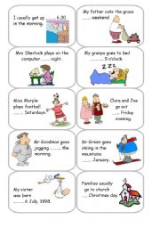 English Worksheet: Prepositions of time - in / on / at - Cards 1