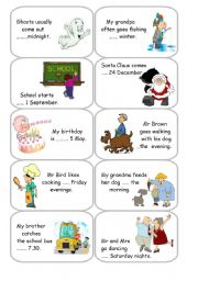 English Worksheet: Prepositions of time - Cards 2