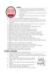 English Worksheet: jokes & tongue twisters