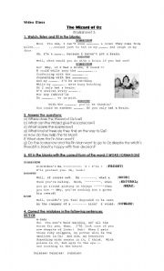 The Wizard of Oz- Video Class- Worksheet 3.