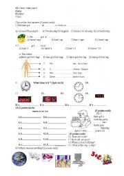English Worksheet: 4th class exam paper