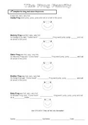 English Worksheets: frog family