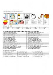 English Worksheets: COUNTABLE AND UNCOUNTABLE NOUNS