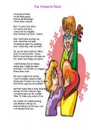 English Worksheet: I�m Trying So Hard-poem