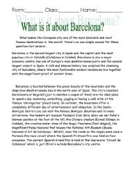 English Worksheets: About Barselona