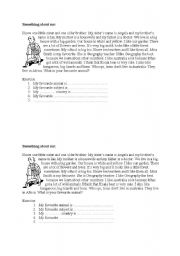 English Worksheets: Something about me