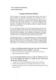 English Worksheet: teenagers and Internet addiction