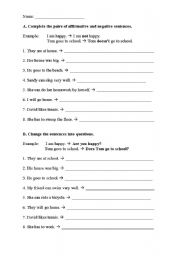 English Worksheets: Negative sentences and questions