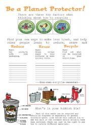 English Worksheet: Be a planet protector!