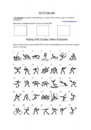 english worksheet pictograms and olympic sports. Black Bedroom Furniture Sets. Home Design Ideas