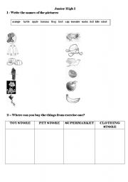 English Worksheets: stores and products