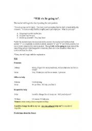 English Worksheet: the difference between Be going to and Will