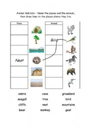 ... worksheets > The animals > Animal habitats > Animal Habitats 1