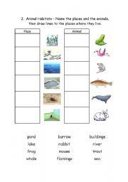 Printables Habitat Worksheets english teaching worksheets animal habitats 2