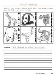 English Worksheets: Animals at the zoo