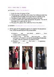 English Worksheet: Fame, What a Shame!