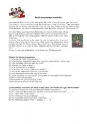 English Worksheets: The black horse hotel