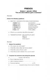 English Worksheet: Friends - Episode 1 Series 2