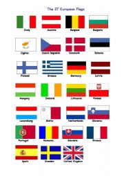 English Worksheet: 27 flags for europe