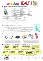 English Worksheet: Health